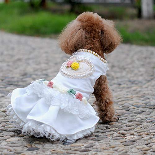 XIRUN Zomer mode strepen voor dog prinses jurken voor huisdier hond kleding trouwjurk parel liefde rok huisdier geleverd, Medium