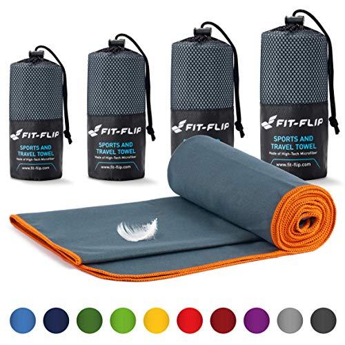 Fit-Flip Mikrofaser Handtücher Set – 18 Farben, viele Größen – kompakt & schnelltrocknend – das perfekte Trainingshandtuch, Travel Towel, Strandtuch (40x80cm, Dunkelgrau - Orange)