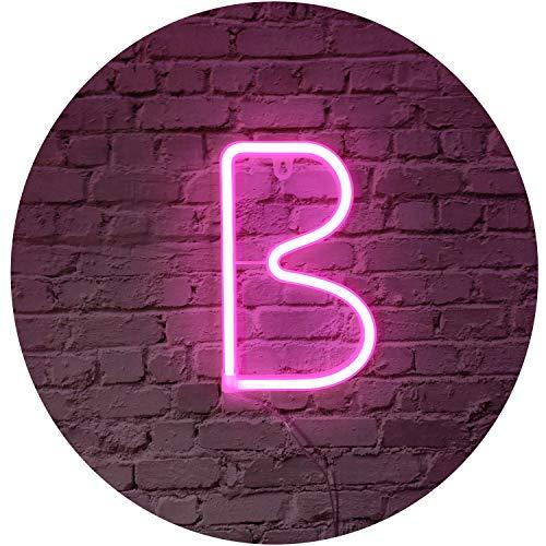 Rosa Neon Brief Leuchtreklamen Zeichen Nachtlicht LED Festzelt Buchstaben Neon Kunst Dekorative Lichter Wanddekor für Kinder Baby Zimmer Weihnachten Hochzeit Dekoration (B)
