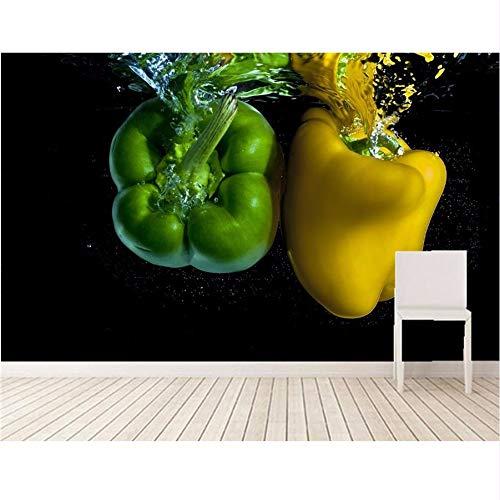 Pmhc 3D-behang, personaliseerbaar behang, peper, water, twee groen, geel, levensmiddelen, behang, restaurant, woonkamer, tv, sofa, muur, keuken, 3D-muurfoto 400 x 280 cm.