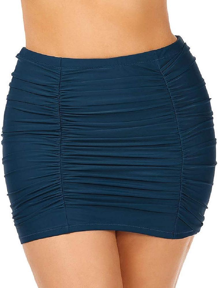 Raisins Curve Trendy Plus Size Juniors' Ruched Costa High-Waist Swim Skirt Navy Green