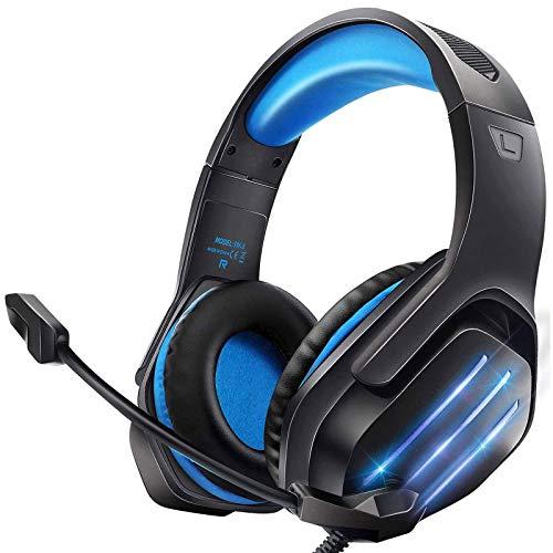 Cascos Gaming, Auriculares Gaming PS4 Premium Stereo con Microfono para PS4 PC Xbox One, Cascos Gaming con Luz LED y Control Volumen, Diadema Acolchada y Ajustable, Micrófono Flexible