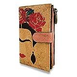 MENKAI-Billetera de Corcho para Mujeres con Estampado de Colores en Aspecto étnico,Billetera con Cremallera Diseños Florales Ranuras para Tarjetas y Bolsillo Internos,RFID
