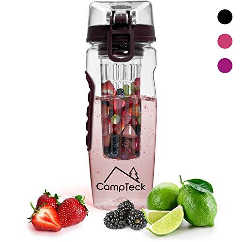 CampTeck U4276 1 Litro 1000 ml Frutas Botella Agua Infusor (Plástico Tritan Sin BPA) Esencia Infusión con Tapa a Prueba de Fugas y Asa - Negro