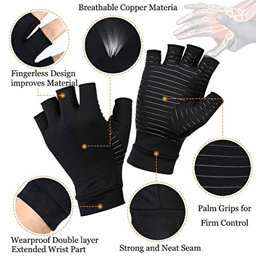 2 Pairs Compression Arthritis Gloves, Best Copper Infused Glove for Women and Men, Fingerless Compression Gloves, Pain Relief and Healing for Arthritis, Carpal Tunnel(L)