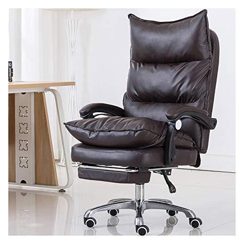 LYJBD Silla giratoria de piel sintética con respaldo alto y estriada moderna, giratoria de piel sintética, silla giratoria ergonómica, para ejecutivos, dibujos, juegos u oficina