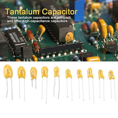 sourcing map 10St Tantal Kondensator 3,3uF 50V 2 Pin Radialbeschichtung Tantalkondensatoren