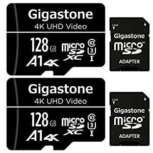 Gigastone Micro SD Card 128GB 2-Pack Micro SDXC U1 C10 High Speed Memory Card Class-10 UHS-I, Micro SD Card Reader (Type A Connector)