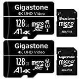 Gigastone 128GB 2-Pack Micro SD Card, 4K UHD Video, Surveillance Security Cam Action Camera Drone Professional, 95MB/s Micro SDXC UHS-I A1 Class 10
