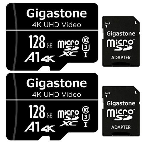 Gigastone Scheda di Memoria Micro SDXC da 128 GB e Adattatore SD, Set da 2, A1 U3 4K, Fino a 95 MB/s di Lettura, 40 MB/s di Scrittura per Videocamere Tavoletta Dashcam GoPro Canon Nikon DJI Drone