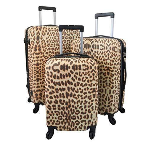 ABS Kofferset 3tlg. Leopard Reisetasche Reise Koffer Reisen mit Schloss Rollen
