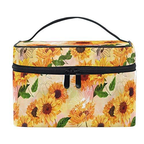 Acuarela amarilla girasol Daisy bolsa de maquillaje bolso bolso cosmético neceser viaje cepillo tren caso para mujeres cremallera portátil multifuncional organizador bolsa bolsa bolsa bolsa bo