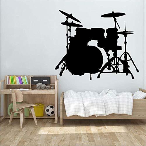 Opprxg Etiqueta engomada del Mural de la Pared Estilo Instrumento Musical Contorno Tambor Pared calcomanía Mural decoración del hogar 57X74cm