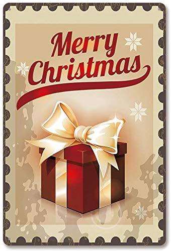 YY-one Letrero de metal retro con texto en inglés 'Merry Christmas', adecuado para café, granja, garaje, bar, club, etc. Tamaño del producto: 20 x 30 cm.