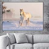 Affiche Wall Art Toile Peinture Paysage Blanc Cheval et Neige Mur Photo pour Le Salon décoration de la Maison Unf 50x70cm