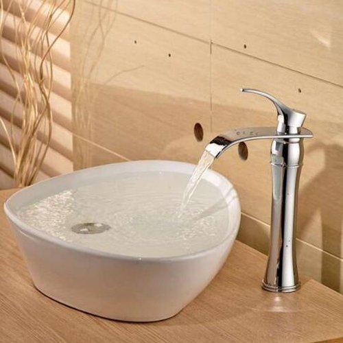 Wovier Grifo de cascada cromado con manguera de admisión, grifo monomando para lavabo, cuerpo inclinado