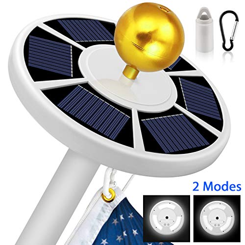 Solar Flag Pole Light, Super-Bright 42 Big LED Solar Powered Flagpole Light, Waterproof Solar Light for in-Ground Poles 15-20 Ft, Energy Saving LEDs with 2 Modes, Auto On/Off Night Lighting