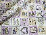 LushFabric Baumwollstoff mit französischem Lavendel-Druck,