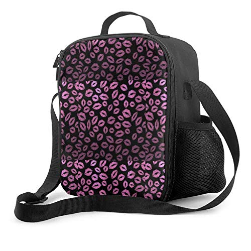 IUBBKII Bolsa de almuerzo con aislamiento Pink black lip print Insulated Lunch Bag, Leakproof Flat Lunch Cooler Tote with Shoulder Strap for Men and Women, Suitable for Work Office