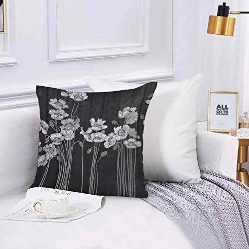Lilatomer Funda de algodón 45 x 45 cm Fauna Negra Flor de Loto Floral Flores Grandes Flores Blancas pintadas al óleo, Sofá Throw Cojín Almohada Caso de la Cubierta para Sala de Estar 45x45cm