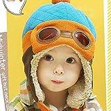 YMKWQF Kindermütze Coole Junge Mädchen Winter Pilot Warme Mütze Hut Mütze Für KinderBlau