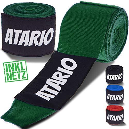 ATARIO Premium Boxbandagen mit Transportnetz [3m/4,5m] – Bandagen Boxen mit Daumenschlaufe – Boxbandagen Herren/Damen halbelastisch – Box Bandages [Set] zum Boxen, Kickboxen & MMA