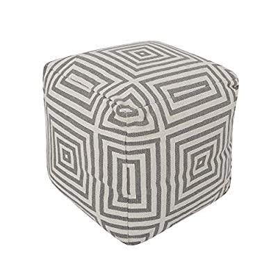 REDEARTH Cube Boho Pouf -Unstuffed Dhurrie Printed Poof Pouffe Ottoman Accent Chair Square Seat Footrest for Living Room, Bedroom, Nursery, kidsroom, Patio; 100% Cotton (20x20x20; Dark Gray)