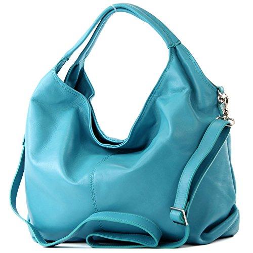 modamoda de - DS26 - ital Damenhandtasche aus Nappaleder, Farbe:Türkis_1