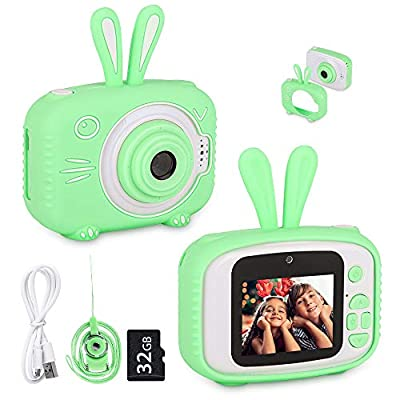 WUBUMIM Kids Bunny Camera,Upgrade 20MP HD Digital Selfie Video Camera with Games,Birthday Gifts for Girls Boys Toddler Children Toys with 32GB Memory Card (Green)