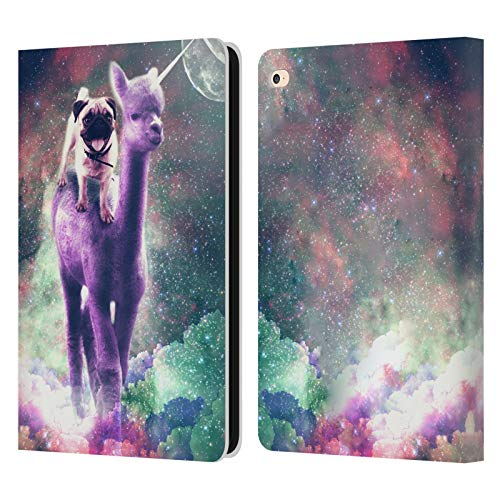 Head Case Designs Officially Licensed James Booker Pug Riding Llama Space Unicorn Ride Leather Book Wallet Case Cover Compatible with Apple iPad Air 2 (2014)