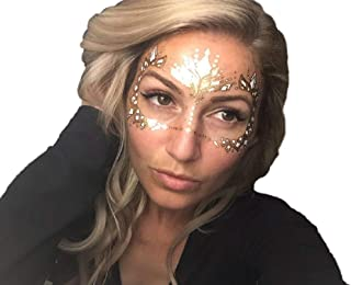 Gold Temporary Tattoos by Golden Ratio Tats, Metallic Festival Face Paint, Gold and White Masquerade Tattoos (Wifey Face Mask)