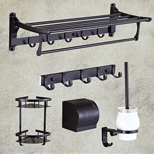 MLOZS Conjunto Colgante Punch-Negro Gratuito de Toallas de baño Toalla de Aluminio del Espacio en Rack Rack de baño Cuarto de baño Retro, (G)