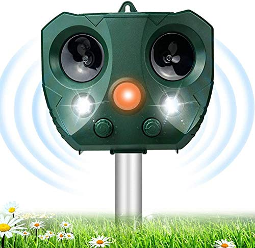 Répulsif Chat Ultrason Solaire Exterieur, Répulsif pour Animaux en Plein air, Cat Fright Ultrasonic Solar, Solaire Répulsif Anti Chats Imperméable, en 5 Modes pour Chat, Oiseaux, Raton Laveur, Chien