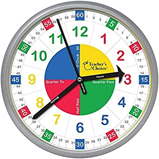 Teacher's Choice Educational Wall Clock | Silent Operation - Time Teaching Clock Perfect for Classrooms and Kid's Bedrooms, Silver