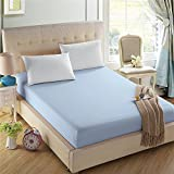 4U'LIFE Bedding Fitted Sheets-Prime 1800 Series,Double Brushed Microfiber, Ultra-Soft Feel and Wrinkle,Fade Free,Deep Pocket for Oversized Mattress(Twin-XL,Light Blue)