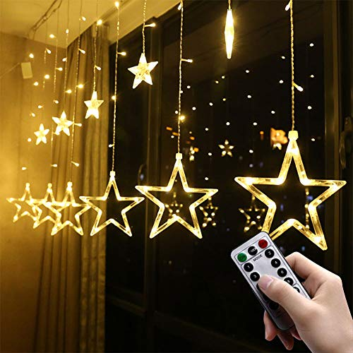 LED Star Curtain Lights 12 Stars 138 LED Shsyue Window Curtain Strip Rope String Lights USB Operated with Remote 8 Modes for Christmas Wedding Party Garden Outdoor Indoor Decorations (Warm White)