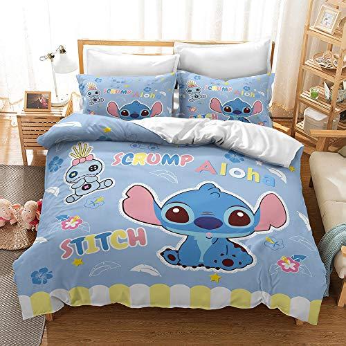 Juego de ropa de cama infantil 3D Lilo & Stitch Anime Cartoon Jugen, microfibra ultra suave con fundas de almohada (A1,135 x 200 cm + 80 x 80 cm)