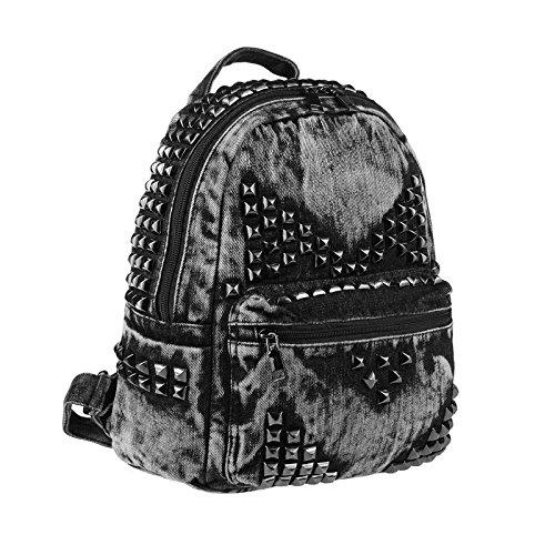 OBC ital-Design Unisex Nieten Rucksack Jeans Denim Baumwolle Cityrucksack Backpack Stadtrucksack Schwarz