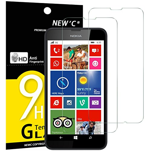 NEW'C 2 Stück, Schutzfolie Panzerglas für Nokia Lumia 630/635, Frei von Kratzern, 9H Festigkeit, HD Bildschirmschutzfolie, 0.33mm Ultra-klar, Ultrawiderstandsfähig