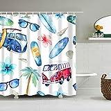 BWBJJ Duschvorhang Bus Sonnenbrillen Surfbrett 180x180 cm Wasserdicht Anti-Schimmel Effekt 3D Digitaldruck mit 12 Duschvorhangringe für Badezimmer