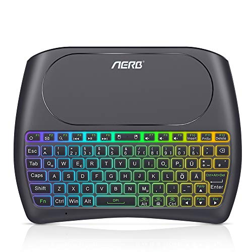 Aerb Mini Teclado inalámbrico retroiluminado, 2.4GHz Recargable Multimedia Teclado con Almohadilla táctil para Android TV Box, HTPC, Smart TV, computadora portátil/PC, Raspberry Pi