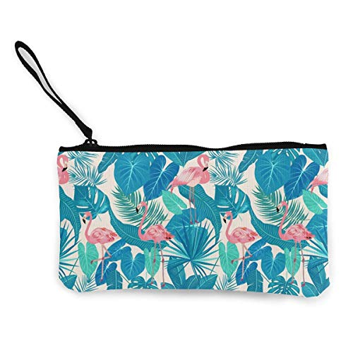 Canvas Coin Purse for Women Girls Floral Skull Zipper Change Pouch with Strap