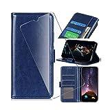 QFSM Azul Flip Funda + Cristal Templado para ZTE Blade L8, Piel de Vaca Funda de Cuero Protector Bookstyle Purse Ranura para Tarjeta with HD Película Protectora Cristal
