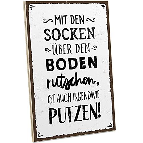 ARTFAVES® Holzschild mit Spruch - Mit Socken über den Boden rutschen   Vintage Deko Schild zum Thema Haushalt/Witziges   Shabby Chic Holzbild auch als Geschenk