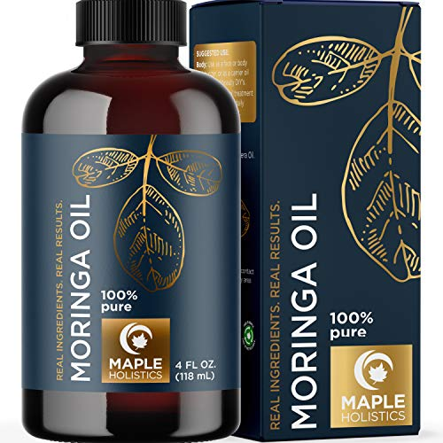 Moringa Oil for Hair Skin and Nails - Highly Absorbent Moringa Oleifera Hair Oil Treatment and Anti Aging Serum for Face Care and Body Moisturizer for Dry Skin Care plus Hydrating Serum for Hair