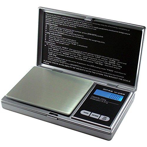 Dipse Digitalwaage M-200 - Digitale Feinwaage/Taschenwaage bis 200g in 0,01g Schritten