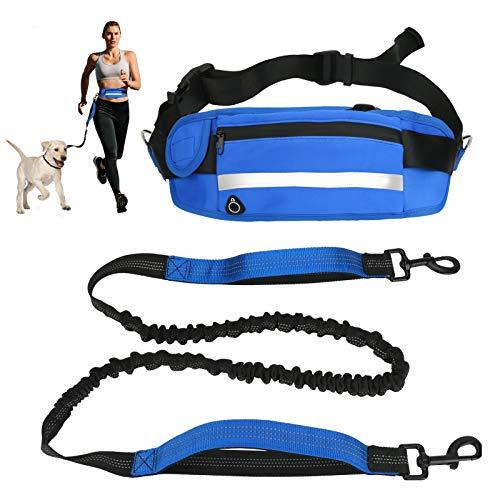 LINGSFIRE Joggingleine mit Laufgürtel, Elastische Hundeleine 160 bis 220 cm für mittlere und große Hunde, Freihändig Joggen Laufen Radfahren Wandern