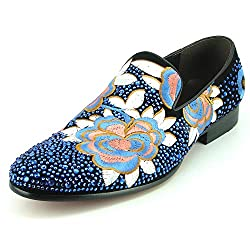 Black Suede Blue Rhinestones Embroidered Flower Slip on