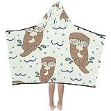 Kawaii Otter Animal Suave y cálido Niños se visten con capucha Manta usable...