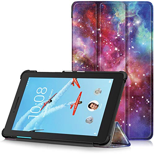 TTVie Hoes voor Lenovo Tab E7, Ultraslanke Lichtgewicht Slimme Standaard Beschermhoes voor Lenovo Tab E7 7 Inch Tablet 2018 Release, Melkweg
